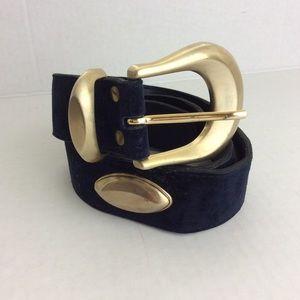 Vintage L Chessler Navy Suede Brass Buckle Belt S
